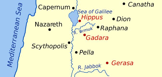 Map showing Gerasa and Gadara