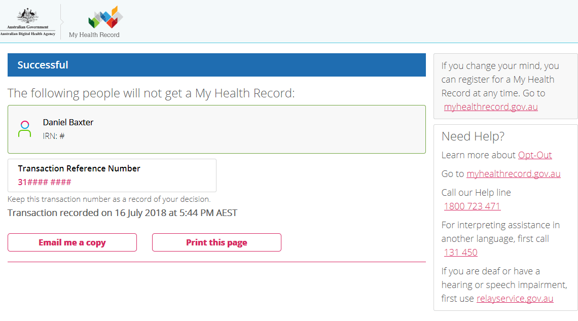 My Health Record opt-out